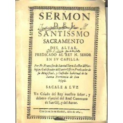 Sermón del santissimo sacramento del altar